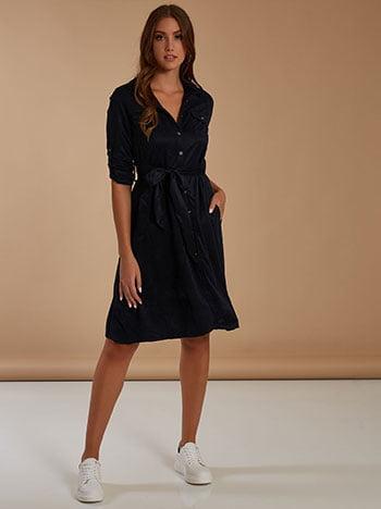 Φόρεμα με αποσπώμενη ζώνη, κλείσιμο με κουμπιά, κλασικός γιακάς, γυριστό μανίκι με κουμπί, θηλιές στη μέση, σκουρο μπλε