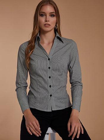 Ριγέ πουκάμισο, κλασικός γιακάς, κλείσιμο με κουμπιά, μαυρο λευκο