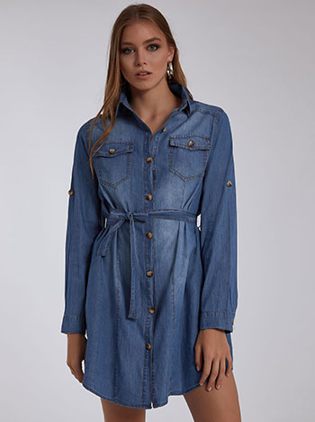 Φόρεμα με αποσπώμενη ζώνη, κλείσιμο με κουμπιά, κλασικός γιακάς, γυριστό μανίκι με κουμπί, θηλιές στη μέση, ιντιγκο