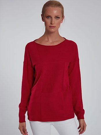 Πουλόβερ με διακοσμητικές ραφές, λαιμόκοψη χαμόγελο, ύφασμα με ελαστικότητα, κοκκινο