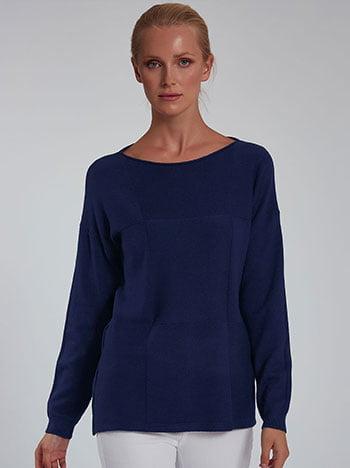 Πουλόβερ με διακοσμητικές ραφές, λαιμόκοψη χαμόγελο, ύφασμα με ελαστικότητα, σκουρο μπλε