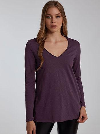 Βαμβακερή μπλούζα, v λαιμόκοψη, αφινίριστο τελείωμα, celestino collection, μωβ