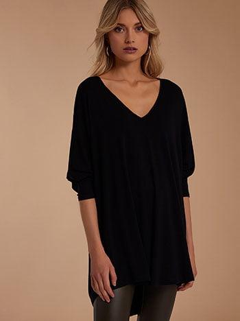 Μπλούζα με v, v λαιμόκοψη, απαλή υφή, celestino collection, μαυρο