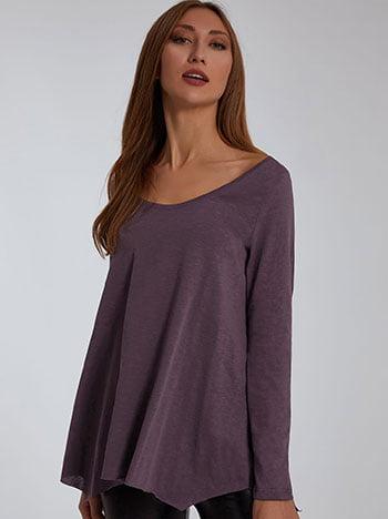 Μπλούζα με αφινίριστο τελείωμα, στρογγυλή λαιμόκοψη, ασύμμετρη, celestino collection, μωβ