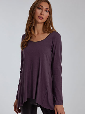 Μακριά μπλούζα με διακοσμητικές ραφές, στρογγυλή λαιμόκοψη, αφινίριστο τελείωμα, celestino collection, μωβ