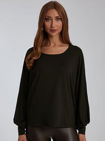 Μπλούζα με μανίκι νυχτερίδα, στρογγυλή λαιμόκοψη, ύφασμα με ελαστικότητα, celestino collection, σκουρο χακι
