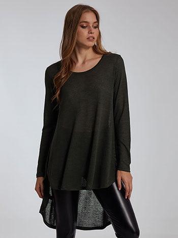 Ασύμμετρη μπλούζα λεπτής πλέξης, στρογγυλή λαιμόκοψη, μακρύ μανίκι, απαλή υφή, celestino collection, χακι