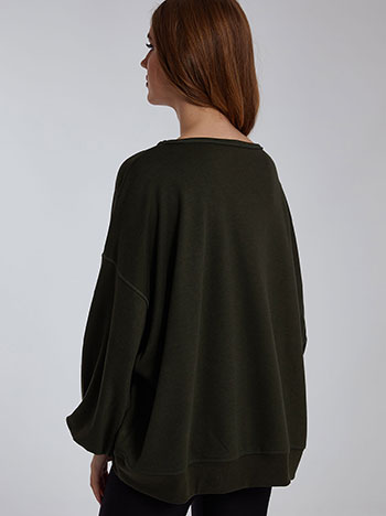 Oversized φούτερ, λαιμόκοψη χαμόγελο, απαλή υφή, celestino collection, χακι