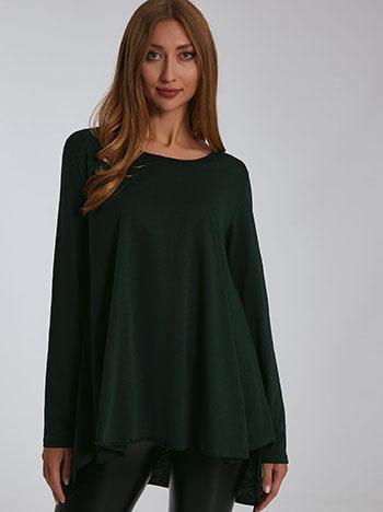 Βαμβακερή μπλούζα, λαιμόκοψη χαμόγελο, ασύμμετρη, celestino collection, πρασινο σκουρο