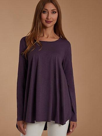 Βαμβακερή μπλούζα, λαιμόκοψη χαμόγελο, ασύμμετρη, celestino collection, μωβ