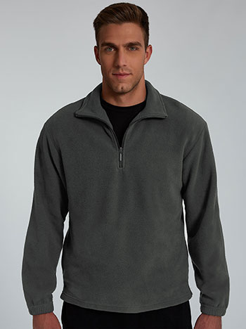 Fleece ανδρικό φούτερ, με half zip, γκρι σκουρο