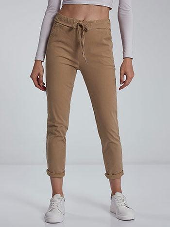 Παντελόνι με βαμβάκι, ελαστική μέση, εσωτερικό κορδόνι, με τσέπες, μπεζ