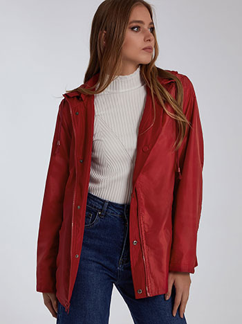 Μπουφάν διπλής όψης, αποσπώμενη κουκούλα, με τσέπες, κλείσιμο με φερμουάρ και κουμπιά, κοκκινο