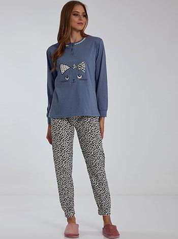 Σετ πιτζάμας σε animal print, ελαστική μέση, με κουμπιά, μπλε ραφ