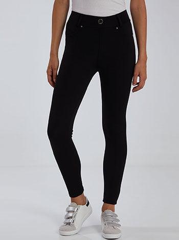 Παντελόνι κολάν, ελαστική μέση, διακοσμητικές τσέπες, χωρίς κούμπωμα, θηλιές στη μέση, πίσω τσέπες, μαυρο