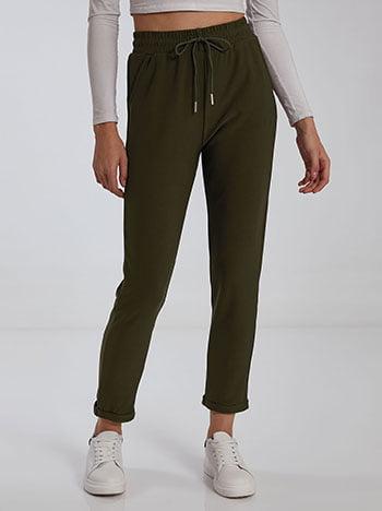 Παντελόνι με τσέπες, ελαστική μέση, εσωτερικό κορδόνι, σκουρο χακι