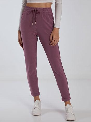 Παντελόνι με τσέπες, ελαστική μέση, εσωτερικό κορδόνι, μωβ