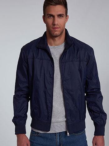 Αντιανεμικό ανδρικό μπουφάν, με τσέπες, κλείσιμο με φερμουάρ, σκουρο μπλε