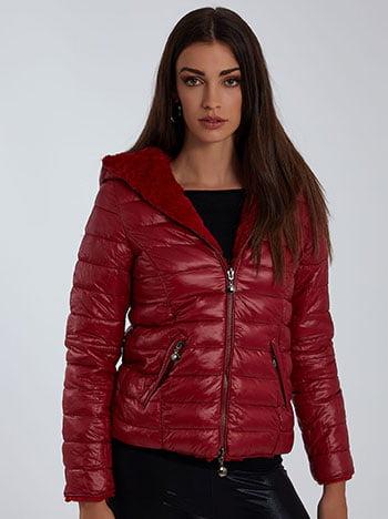 Συνθετική γούνα διπλής όψης, με κουκούλα, κλείσιμο με φερμουάρ, με τσέπες, κοκκινο
