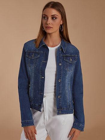Τζιν μπουφάν με strass, κλασικός γιακάς, με τσέπες, κλείσιμο με κουμπιά, ύφασμα με ελαστικότητα, σκουρο μπλε