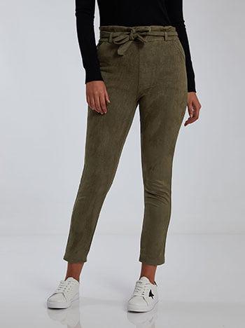 Παντελόνι με suede όψη, με αποσπώμενη ζώνη, ελαστική μέση, με τσέπες, χακι