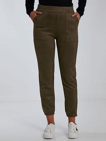 Παντελόνι με suede όψη, ελαστική μέση, με τσέπες, χακι