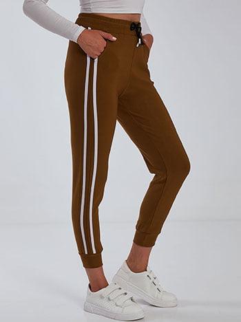 Παντελόνι φόρμας με ρίγες, ελαστική μέση, με τσέπες, εσωτερικό κορδόνι, ύφασμα με ελαστικότητα, καφε λευκο