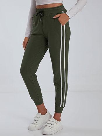 Παντελόνι φόρμας με ρίγες, ελαστική μέση, με τσέπες, εσωτερικό κορδόνι, ύφασμα με ελαστικότητα, χακι λευκο