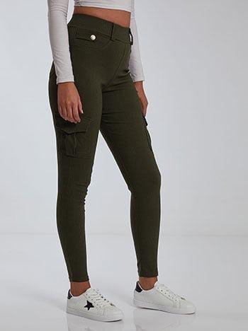 Skinny cargo παντελόνι, θηλιές στη μέση, πίσω τσέπες, ελαστική μέση, χακι