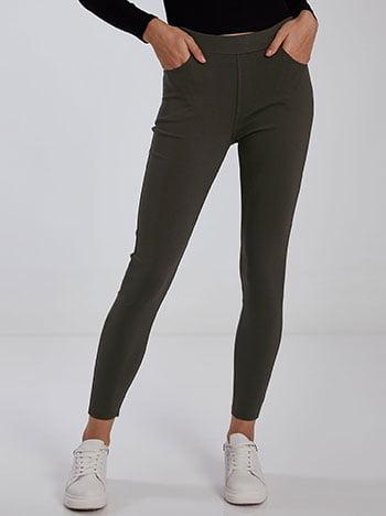Παντελόνι κολάν με τσέπες, ελαστική μέση, ύφασμα με ελαστικότητα, χακι