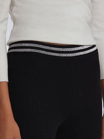 Κολάν με μεταλλιζέ ρίγες, ελαστική μέση, ύφασμα με ελαστικότητα, μαυρο