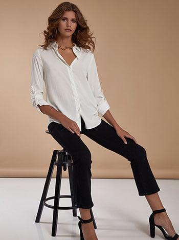 Βαμβακερό πουκάμισο, κλείσιμο με κουμπιά, γυριστό μανίκι με κουμπί, λευκο