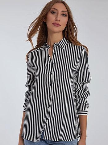 Ριγέ βαμβακερό πουκάμισο, κλασικός γιακάς, γυριστό μανίκι με κουμπί, μπλε σκ λευκο
