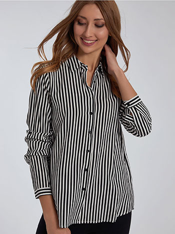 Ριγέ βαμβακερό πουκάμισο, κλασικός γιακάς, γυριστό μανίκι με κουμπί, μαυρο λευκο