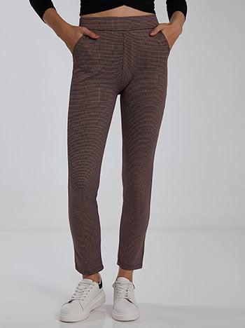 Εμπριμέ παντελόνι κολάν, ελαστική μέση, με τσέπες, ύφασμα με ελαστικότητα, μιχ 1