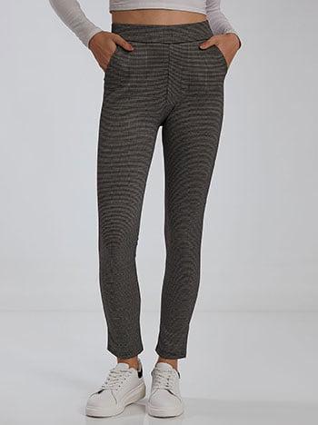 Εμπριμέ παντελόνι κολάν, ελαστική μέση, με τσέπες, ύφασμα με ελαστικότητα, μιχ 2