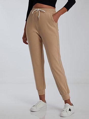 Ψηλόμεσο παντελόνι φόρμας, ελαστική μέση, εσωτερικό κορδόνι, ύφασμα με ελαστικότητα, μπεζ