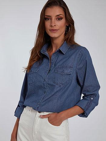 Βαμβακερό πουκάμισο, με τσέπες, κλασικός γιακάς, κλείσιμο με κουμπιά, γυριστό μανίκι με κουμπί, σκουρο μπλε