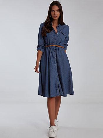Midi φόρεμα με αποσπώμενη ζώνη, κλείσιμο με κουμπιά, κλασικός γιακάς, γυριστό μανίκι με κουμπί, θηλιές στη μέση, σκουρο μπλε