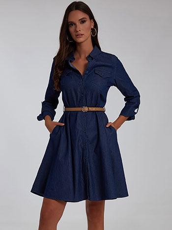 Φόρεμα με αποσπώμενη ζώνη, με τσέπες, κλασικός γιακάς, κλείσιμο με κουμπιά, γυριστό μανίκι με κουμπί, σκουρο μπλε