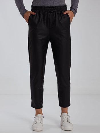 Ψηλόμεσο παντελόνι δερματίνης, ελαστική μέση, με τσέπες, χωρίς κούμπωμα, fleece lining, μαυρο