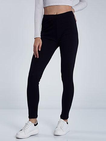 Fleece κολάν, ελαστική μέση, ύφασμα με ελαστικότητα, μαυρο