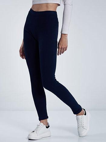 Fleece κολάν, ελαστική μέση, ύφασμα με ελαστικότητα, σκουρο μπλε