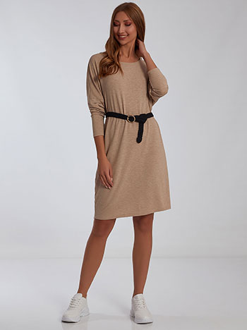 Φόρεμα με πίσω διακοσμητική ραφή, απαλή υφή, στρογγυλή λαιμόκοψη, χωρίς κούμπωμα, celestino collection, μπεζ