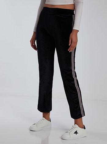 Βελούδινο παντελόνι, ελαστική μέση, μαυρο