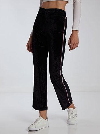 Βελούδινο παντελόνι φόρμας με ρίγες, ελαστική μέση, εσωτερικό κορδόνι, ύφασμα με ελαστικότητα, μαυρο