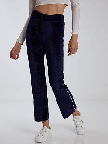 Βελούδινο παντελόνι φόρμας με ρίγες, ελαστική μέση, εσωτερικό κορδόνι, ύφασμα με ελαστικότητα, σκουρο μπλε