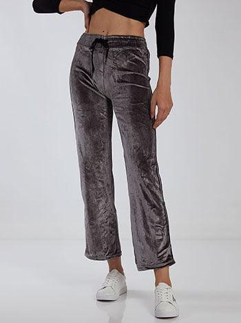 Βελούδινο παντελόνι φόρμας με ρίγες, ελαστική μέση, εσωτερικό κορδόνι, ύφασμα με ελαστικότητα, γκρι ανοιχτο