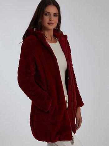 Συνθετική γούνα διπλής όψης, με κουκούλα, κλείσιμο με φερμουάρ, με τσέπες, εσωτερικό κορδόνι, μπορντο