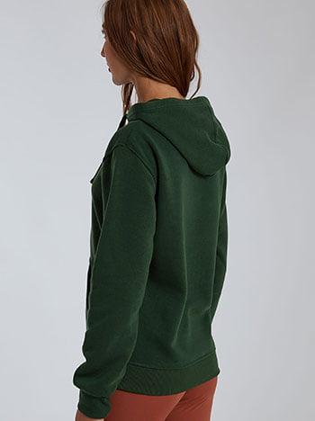 Φούτερ με κουκούλα, με τσέπη, fleece επένδυση, πρασινο σκουρο
